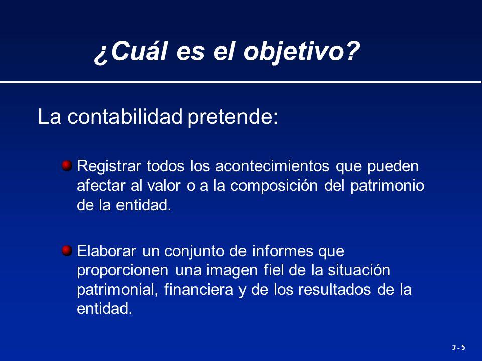 3 - 5 La contabilidad pretende: Registrar todos los acontecimientos que pueden afectar al valor o a la composición del patrimonio de la entidad. Elabo