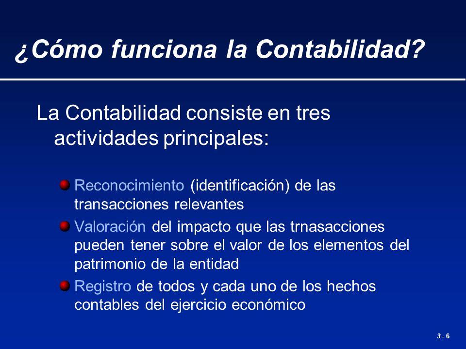 3 - 6 La Contabilidad consiste en tres actividades principales: Reconocimiento (identificación) de las transacciones relevantes Valoración del impacto