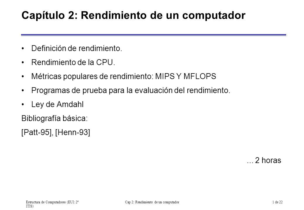 Estructura de Computadores (EUI: 2º ITIS) Cap 2: Rendimiento de un computador2 de 22 Definición del rendimiento Existen dos formas de medir el rendimiento: Tiempo de respuesta –Tiempo entre el comienzo y finalización de una tarea.