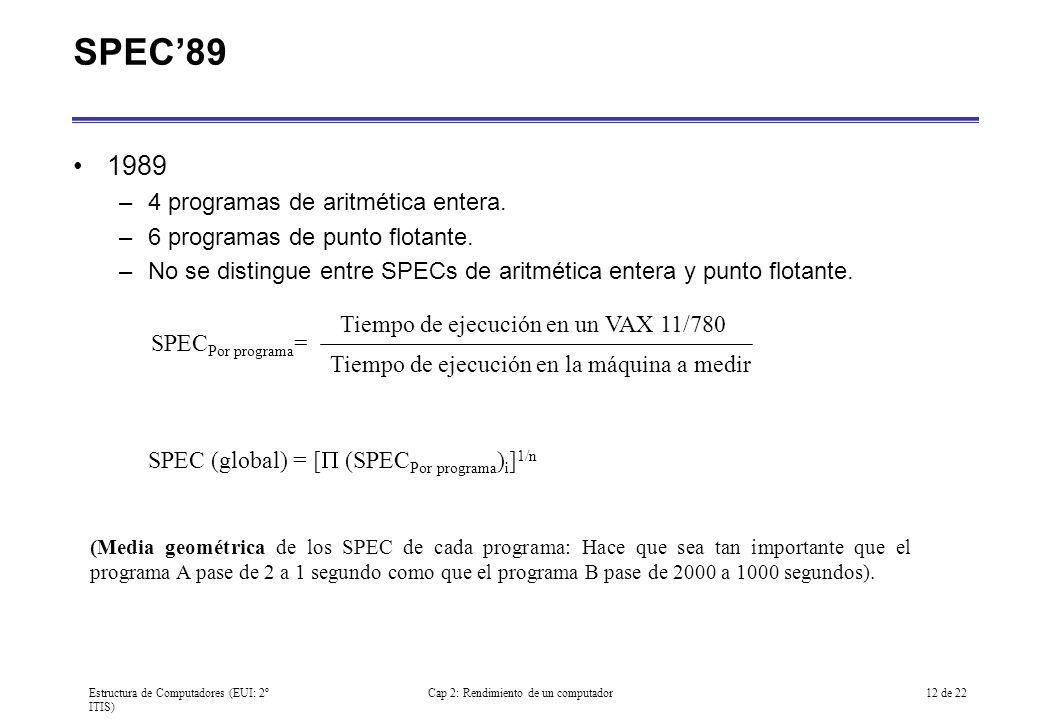 Estructura de Computadores (EUI: 2º ITIS) Cap 2: Rendimiento de un computador12 de 22 SPEC89 1989 –4 programas de aritmética entera. –6 programas de p