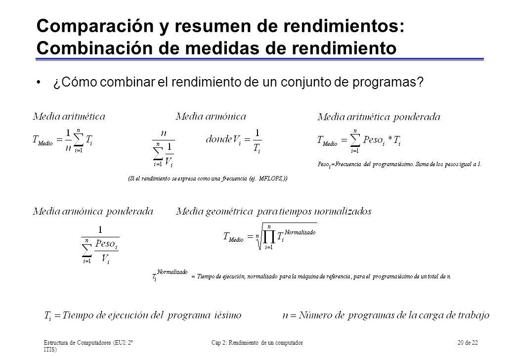 Estructura de Computadores (EUI: 2º ITIS) Cap 2: Rendimiento de un computador20 de 22 Comparación y resumen de rendimientos: Combinación de medidas de
