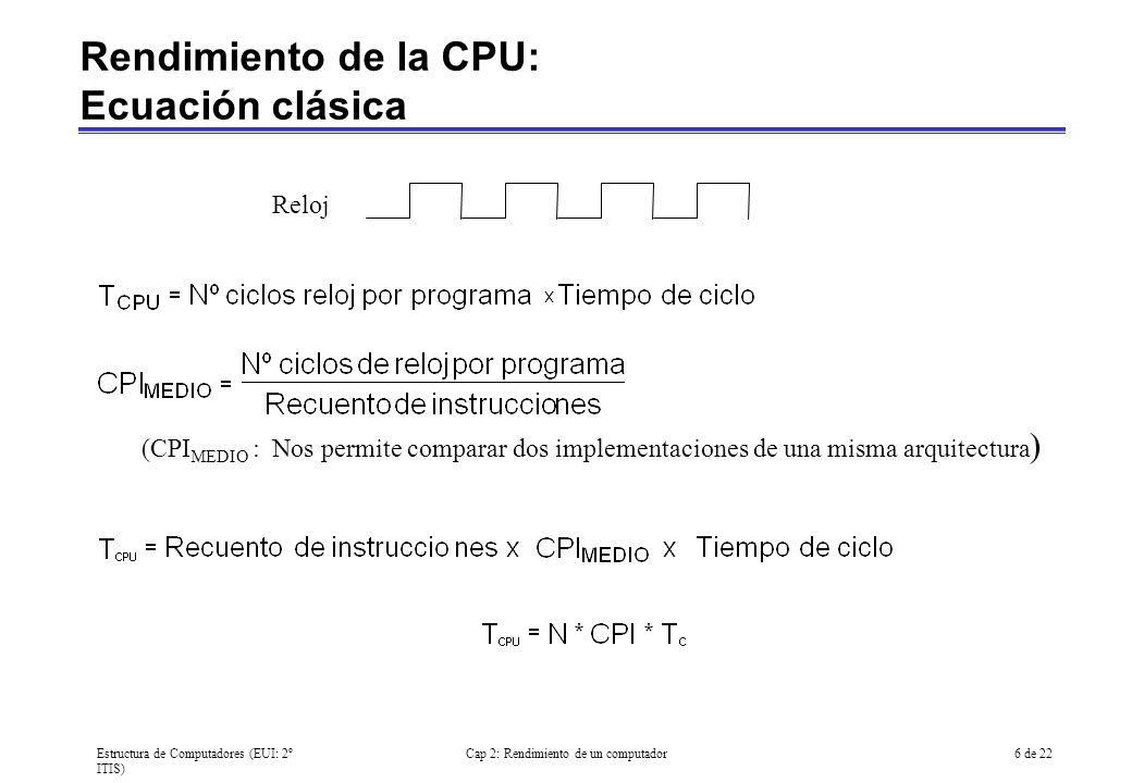 Estructura de Computadores (EUI: 2º ITIS) Cap 2: Rendimiento de un computador6 de 22 (CPI MEDIO : Nos permite comparar dos implementaciones de una mis
