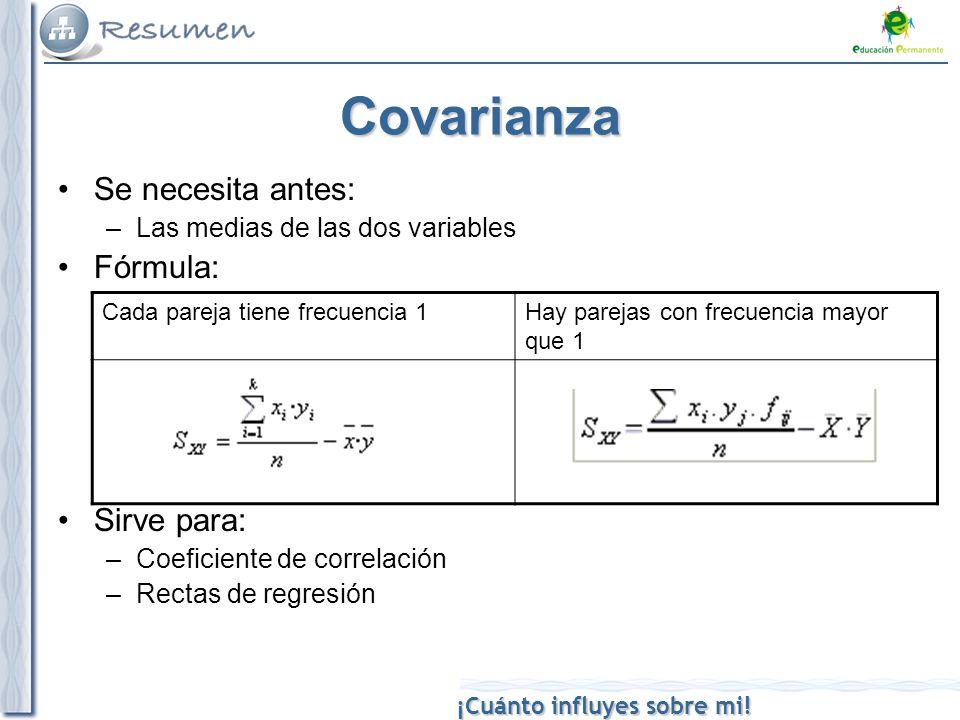 ¡Cuánto influyes sobre mi! Covarianza Se necesita antes: –Las medias de las dos variables Fórmula: Sirve para: –Coeficiente de correlación –Rectas de