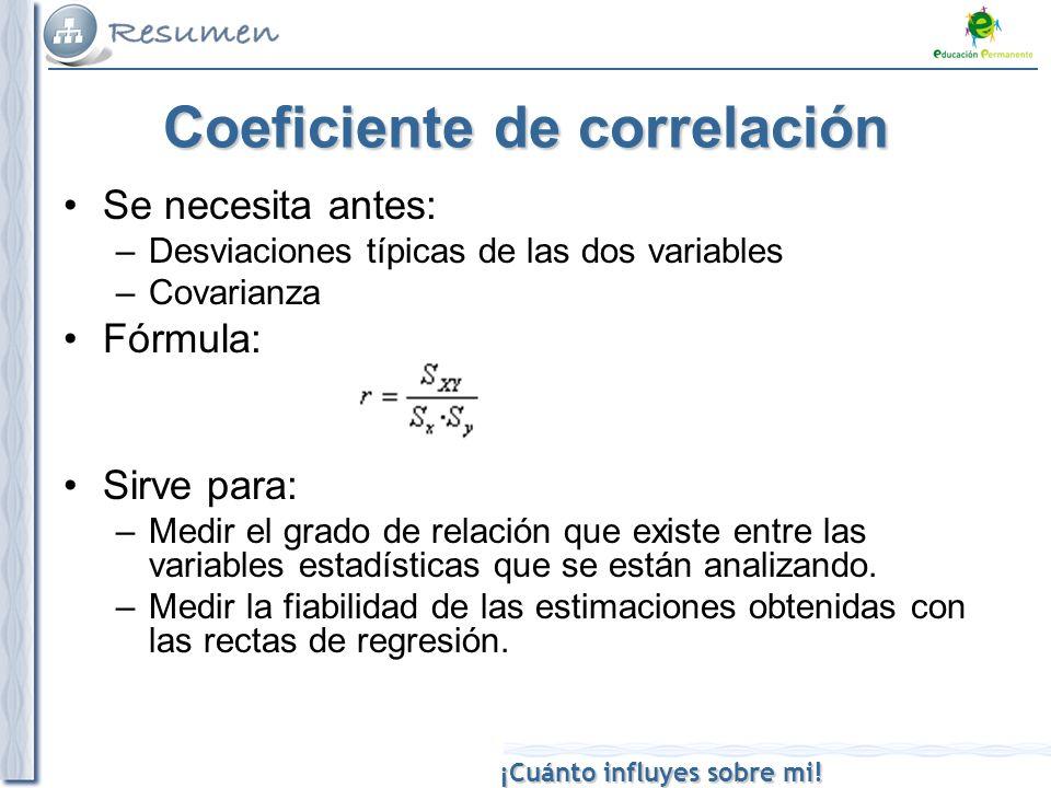 ¡Cuánto influyes sobre mi! Coeficiente de correlación Se necesita antes: –Desviaciones típicas de las dos variables –Covarianza Fórmula: Sirve para: –