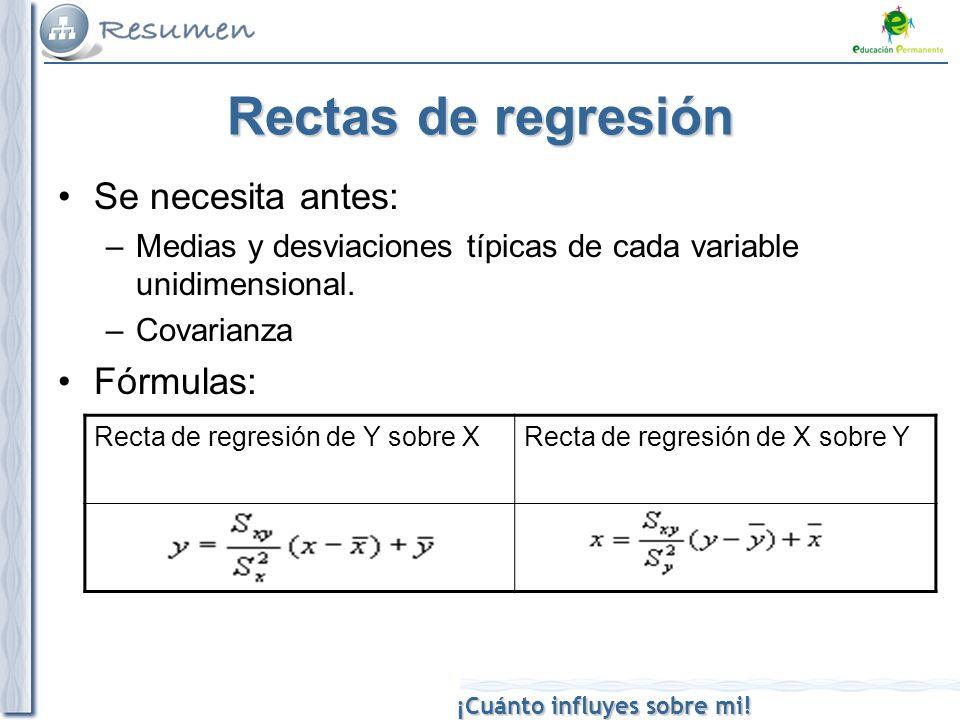 ¡Cuánto influyes sobre mi! Rectas de regresión Se necesita antes: –Medias y desviaciones típicas de cada variable unidimensional. –Covarianza Fórmulas