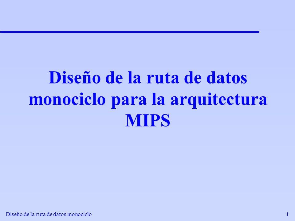 Diseño de la ruta de datos monociclo2 Conocimientos previos: Arquitectura MIPS Registros 32 registros de propósito general, de 32 bits cada uno.