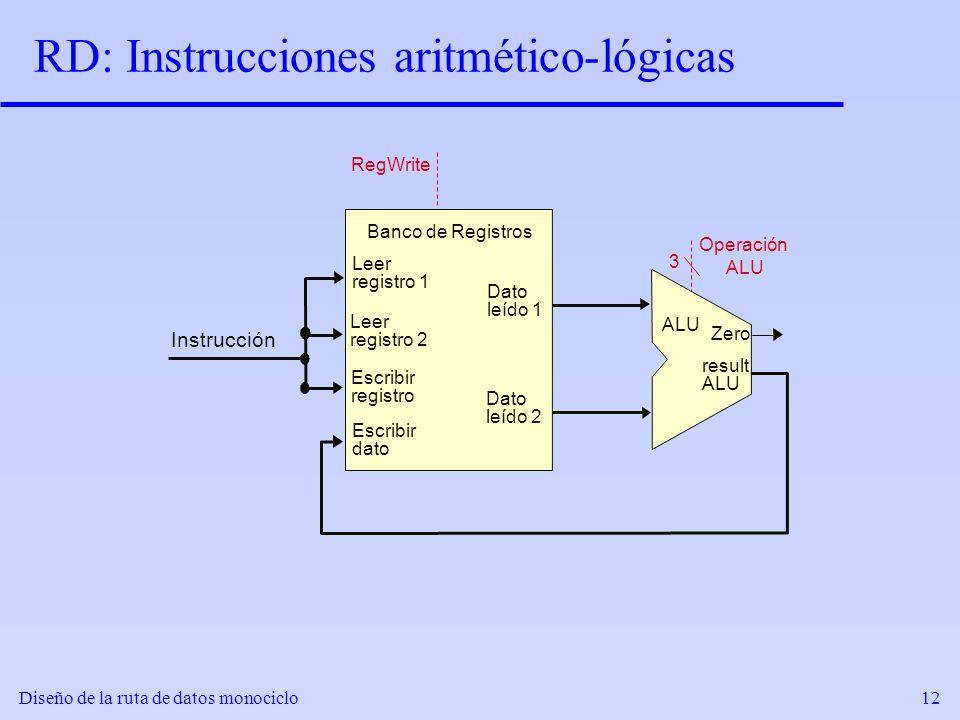 Diseño de la ruta de datos monociclo12 RD: Instrucciones aritmético-lógicas result ALU Zero RegWrite 3 Operación ALU Leer registro 1 Leer registro 2 E
