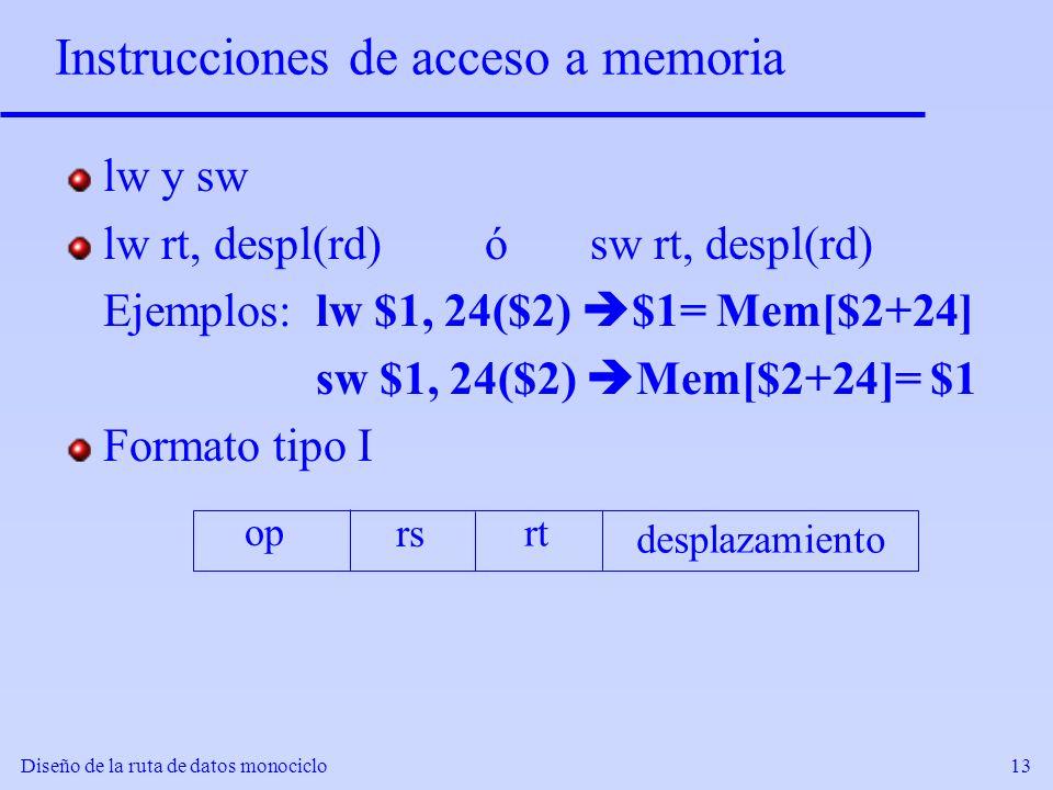 Diseño de la ruta de datos monociclo13 Instrucciones de acceso a memoria lw y sw lw rt, despl(rd)ósw rt, despl(rd) Ejemplos:lw $1, 24($2) $1= Mem[$2+2