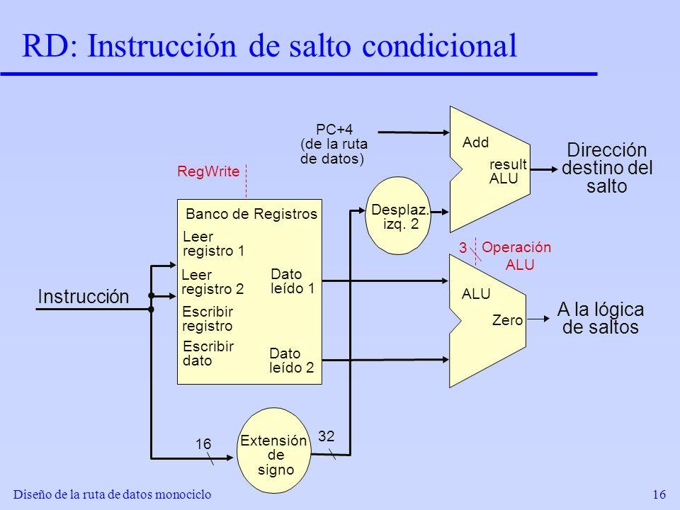 Diseño de la ruta de datos monociclo16 RD: Instrucción de salto condicional Desplaz. izq. 2 Extensión de signo 32 RegWrite Add result ALU Leer registr