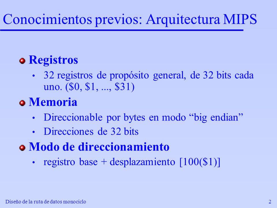 Diseño de la ruta de datos monociclo2 Conocimientos previos: Arquitectura MIPS Registros 32 registros de propósito general, de 32 bits cada uno. ($0,