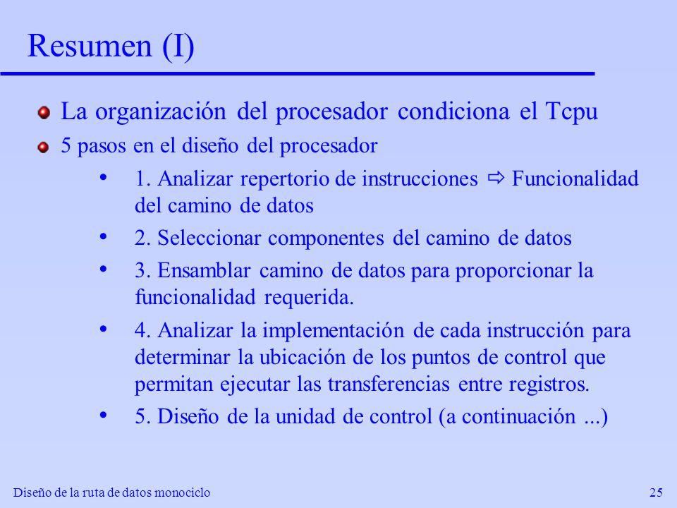 Diseño de la ruta de datos monociclo25 Resumen (I) La organización del procesador condiciona el Tcpu 5 pasos en el diseño del procesador 1. Analizar r