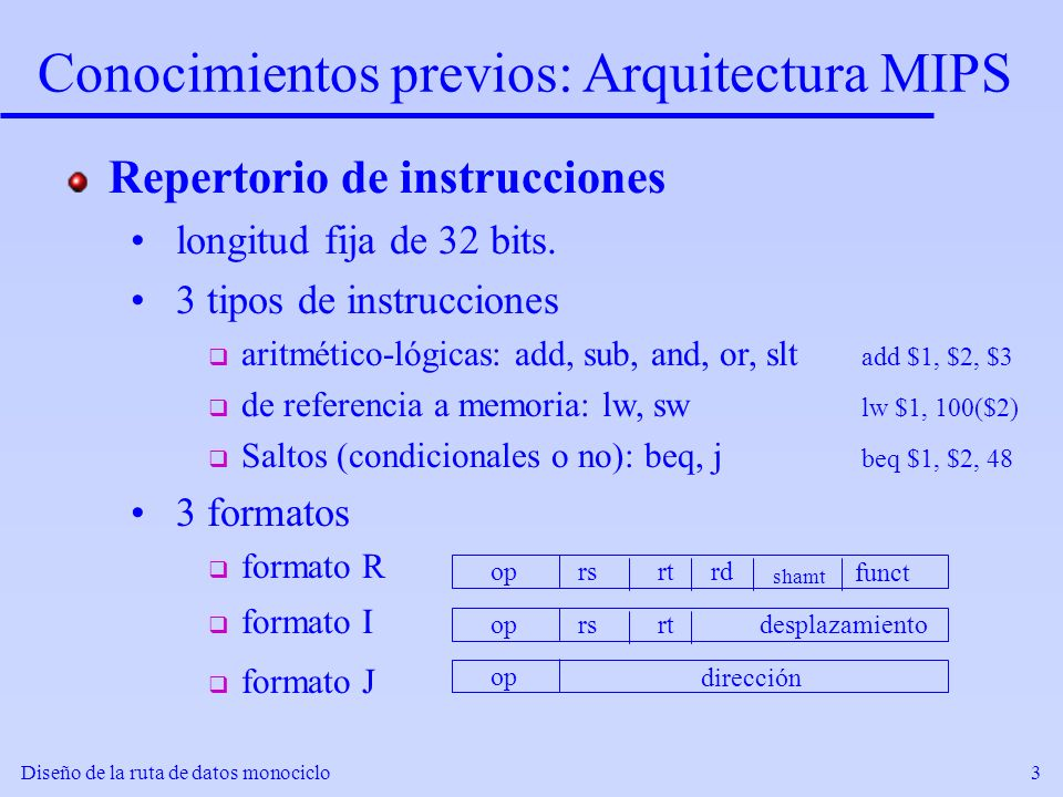Diseño de la ruta de datos monociclo3 Conocimientos previos: Arquitectura MIPS Repertorio de instrucciones longitud fija de 32 bits. 3 tipos de instru