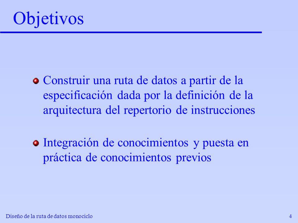 Diseño de la ruta de datos monociclo4 Objetivos Construir una ruta de datos a partir de la especificación dada por la definición de la arquitectura de