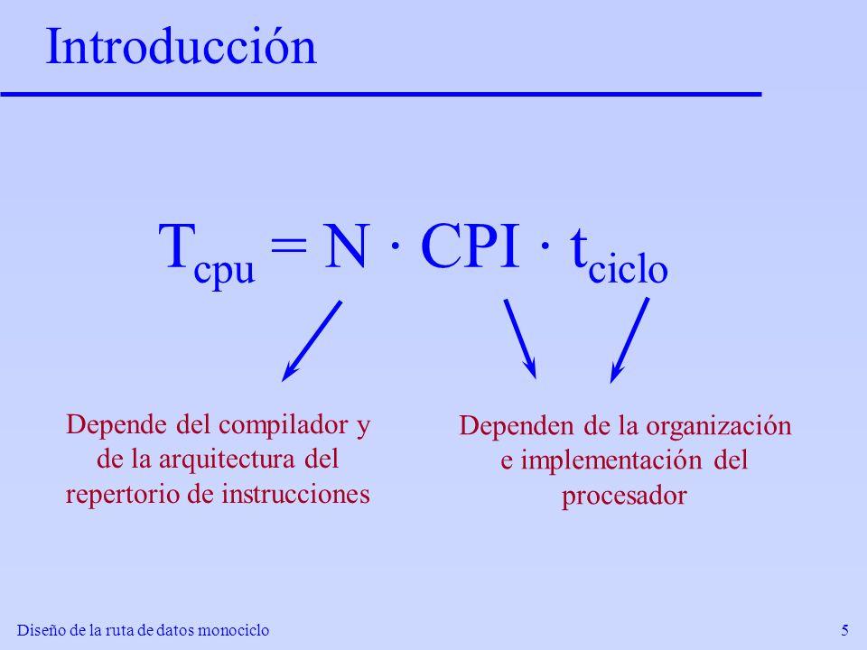 Diseño de la ruta de datos monociclo5 Introducción T cpu = N · CPI · t ciclo Depende del compilador y de la arquitectura del repertorio de instruccion
