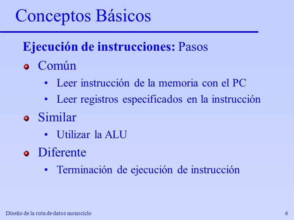 Diseño de la ruta de datos monociclo6 Conceptos Básicos Ejecución de instrucciones: Pasos Común Leer instrucción de la memoria con el PC Leer registro