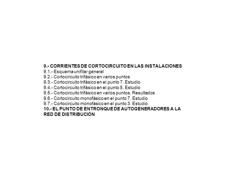 9.- CORRIENTES DE CORTOCIRCUITO EN LAS INSTALACIONES 9.1.- Esquema unifilar general 9.2.- Cortocircuito trifásico en varios puntos 9.3.- Cortocircuito