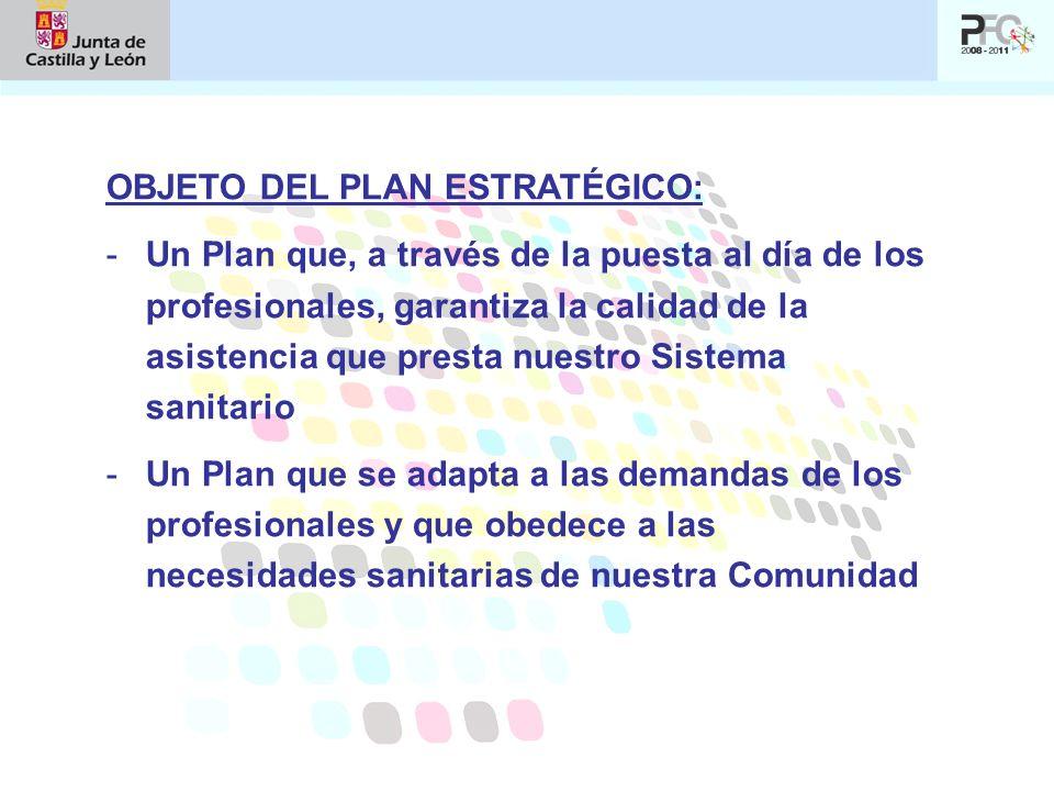 OBJETO DEL PLAN ESTRATÉGICO: -Un Plan que, a través de la puesta al día de los profesionales, garantiza la calidad de la asistencia que presta nuestro