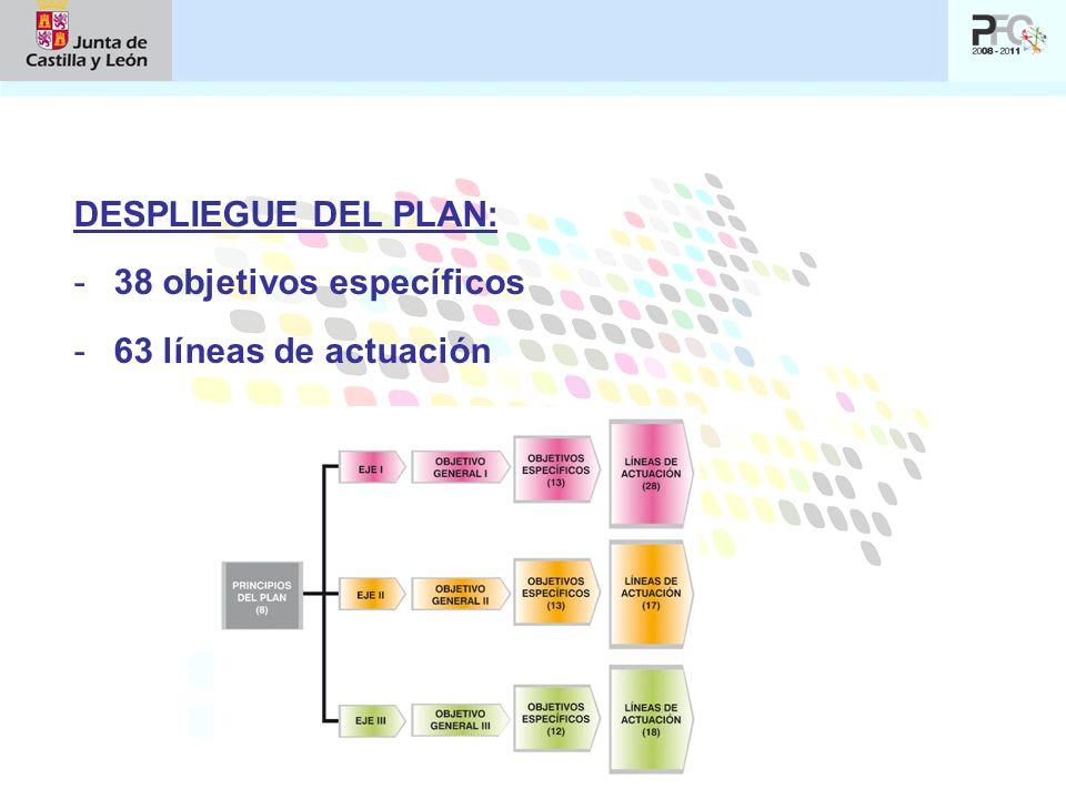 DESPLIEGUE DEL PLAN: -38 objetivos específicos -63 líneas de actuación
