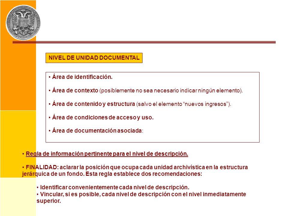 NIVEL DE UNIDAD DOCUMENTAL Área de identificación. Área de contexto (posiblemente no sea necesario indicar ningún elemento). Área de contenido y estru