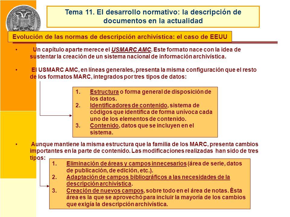 USMARC AMC Un capítulo aparte merece el USMARC AMC. Este formato nace con la idea de sustentar la creación de un sistema nacional de información archi