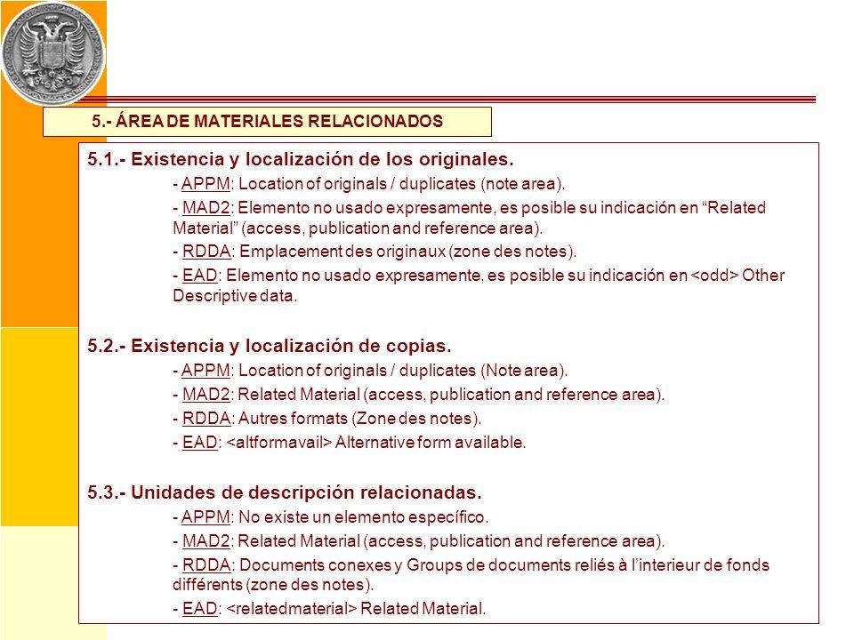 5.- ÁREA DE MATERIALES RELACIONADOS 5.1.- Existencia y localización de los originales. - APPM: Location of originals / duplicates (note area). - MAD2:
