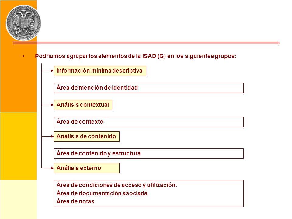 Podríamos agrupar los elementos de la ISAD (G) en los siguientes grupos: Información mínima descriptiva Área de mención de identidad Análisis contextu