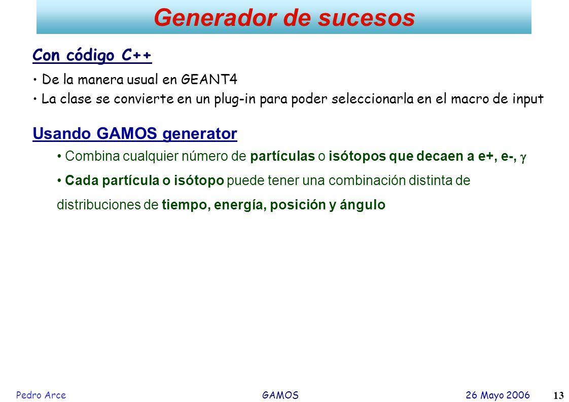 Pedro Arce GAMOS 26 Mayo 2006 13 Generador de sucesos Con código C++ De la manera usual en GEANT4 La clase se convierte en un plug-in para poder selec
