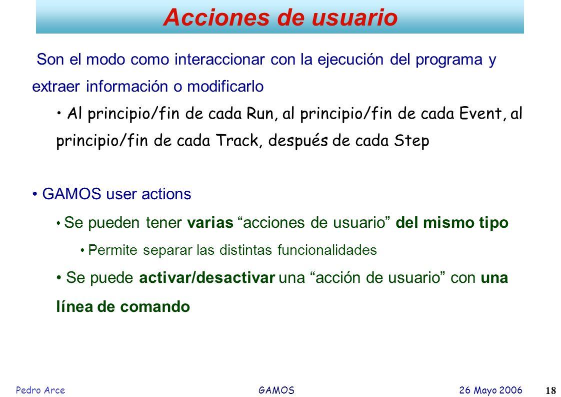 Pedro Arce GAMOS 26 Mayo 2006 18 Acciones de usuario Son el modo como interaccionar con la ejecución del programa y extraer información o modificarlo