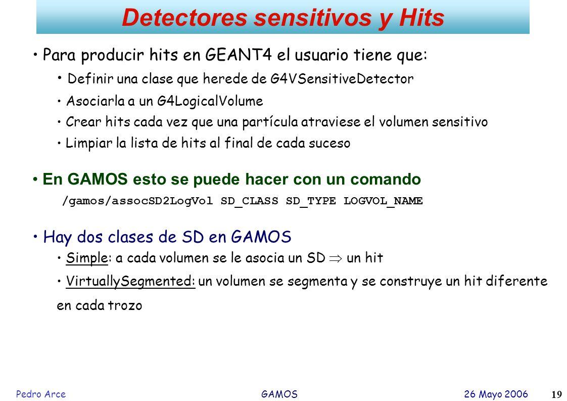 Pedro Arce GAMOS 26 Mayo 2006 19 Detectores sensitivos y Hits Para producir hits en GEANT4 el usuario tiene que: Definir una clase que herede de G4VSe