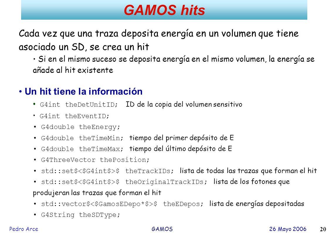 Pedro Arce GAMOS 26 Mayo 2006 20 GAMOS hits Cada vez que una traza deposita energía en un volumen que tiene asociado un SD, se crea un hit Si en el mi