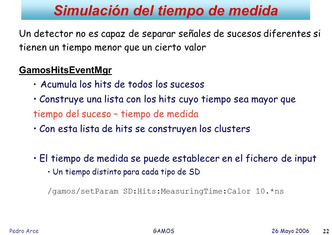Pedro Arce GAMOS 26 Mayo 2006 22 Simulación del tiempo de medida Un detector no es capaz de separar señales de sucesos diferentes si tienen un tiempo
