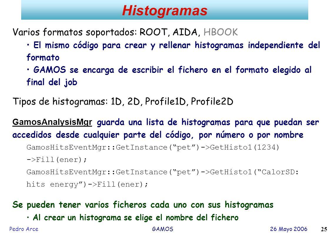 Pedro Arce GAMOS 26 Mayo 2006 25 Histogramas Varios formatos soportados: ROOT, AIDA, HBOOK El mismo código para crear y rellenar histogramas independi