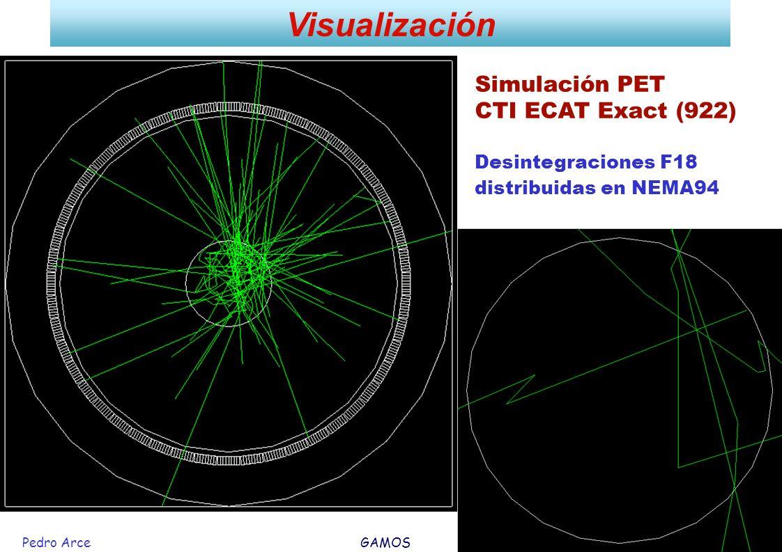 Pedro Arce GAMOS 26 Mayo 2006 27 Visualización Simulación PET CTI ECAT Exact (922) Desintegraciones F18 distribuidas en NEMA94