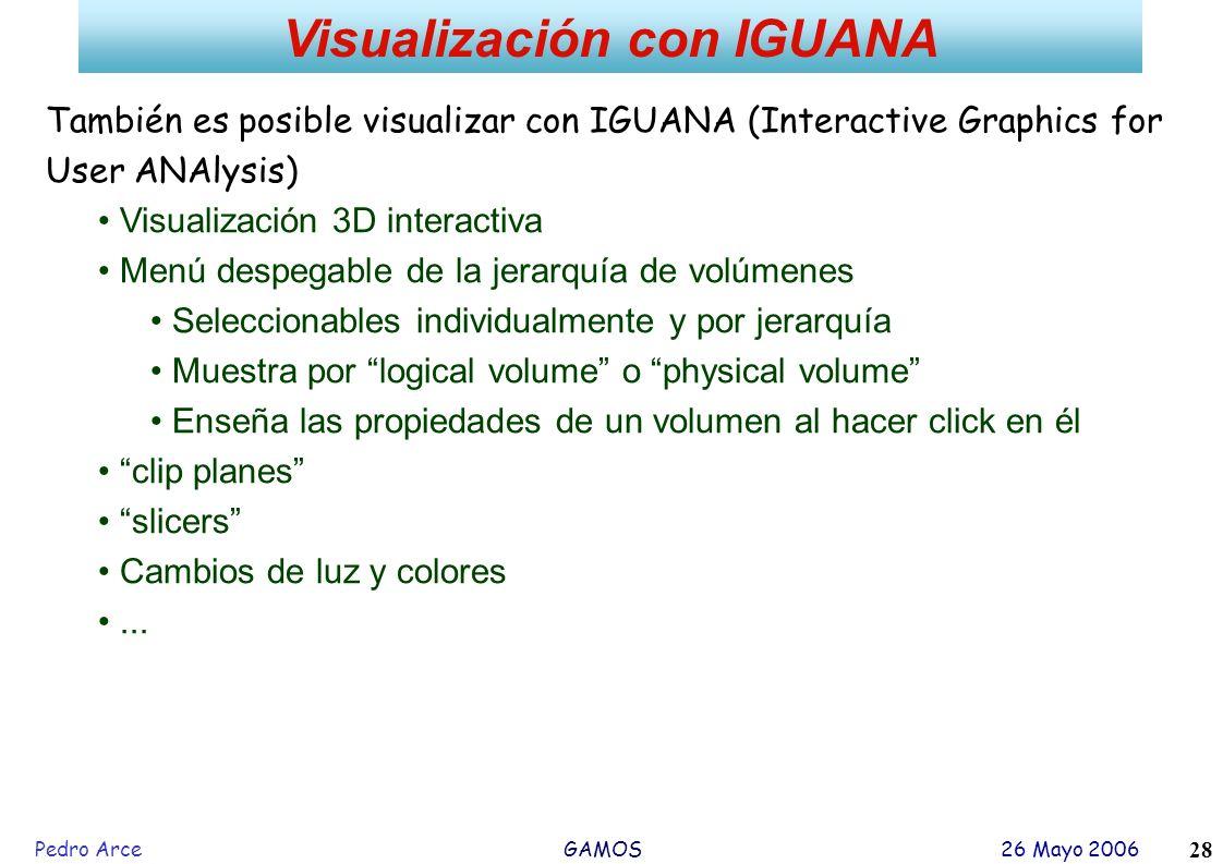Pedro Arce GAMOS 26 Mayo 2006 28 Visualización con IGUANA También es posible visualizar con IGUANA (Interactive Graphics for User ANAlysis) Visualizac