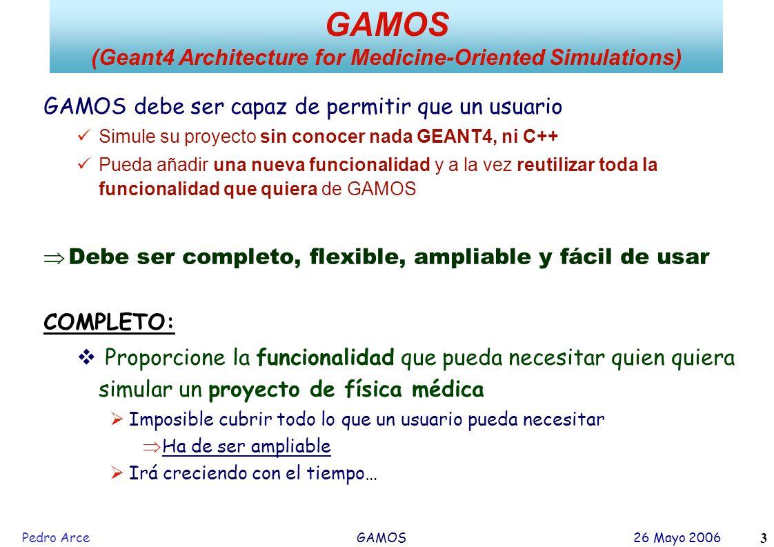 Pedro Arce GAMOS 26 Mayo 2006 3 GAMOS debe ser capaz de permitir que un usuario Simule su proyecto sin conocer nada GEANT4, ni C++ Pueda añadir una nu
