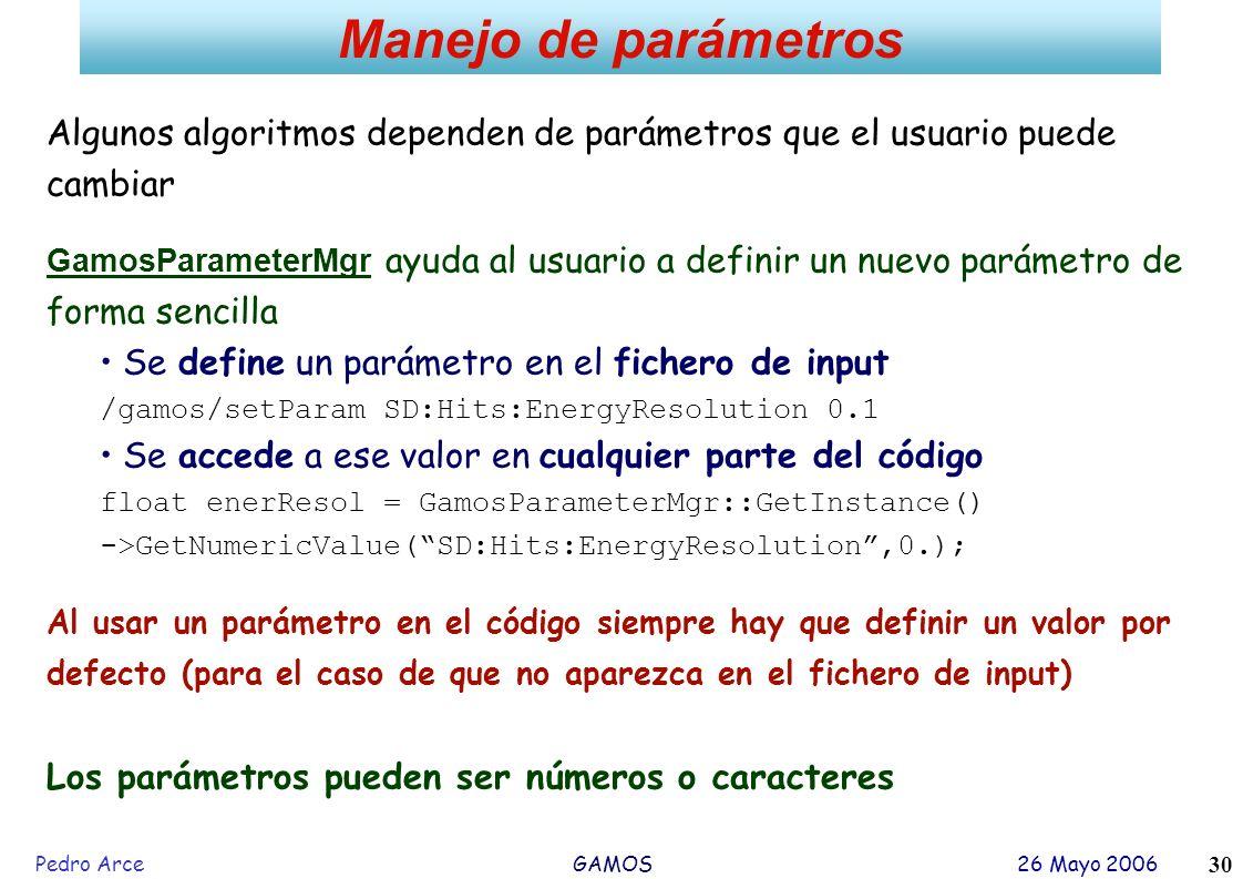 Pedro Arce GAMOS 26 Mayo 2006 30 Manejo de parámetros Algunos algoritmos dependen de parámetros que el usuario puede cambiar GamosParameterMgr ayuda a