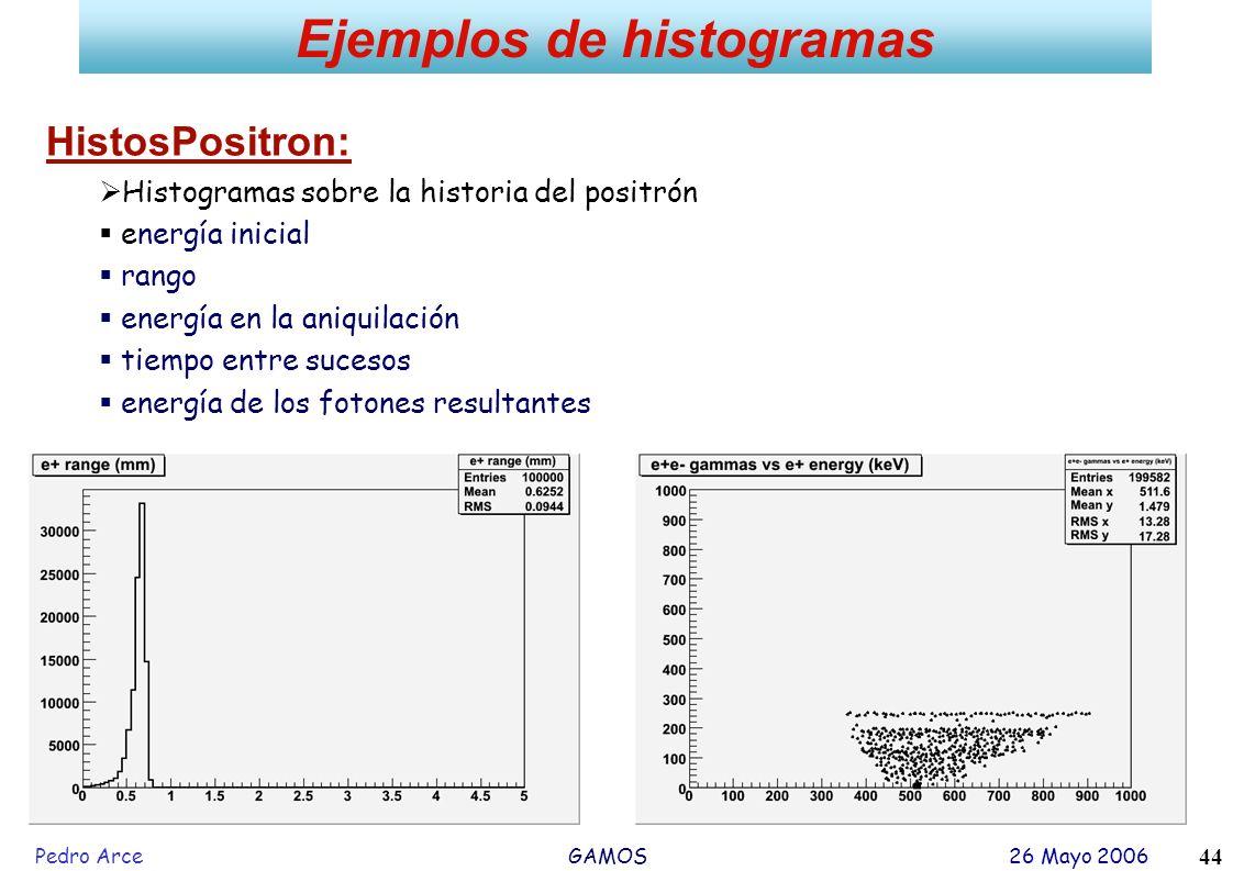 Pedro Arce GAMOS 26 Mayo 2006 44 Ejemplos de histogramas HistosPositron: Histogramas sobre la historia del positrón energía inicial rango energía en l