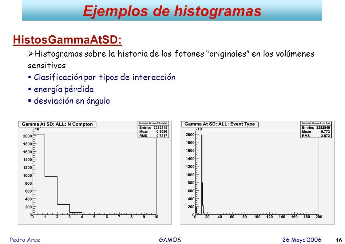 Pedro Arce GAMOS 26 Mayo 2006 46 Ejemplos de histogramas HistosGammaAtSD: Histogramas sobre la historia de los fotones originales en los volúmenes sen