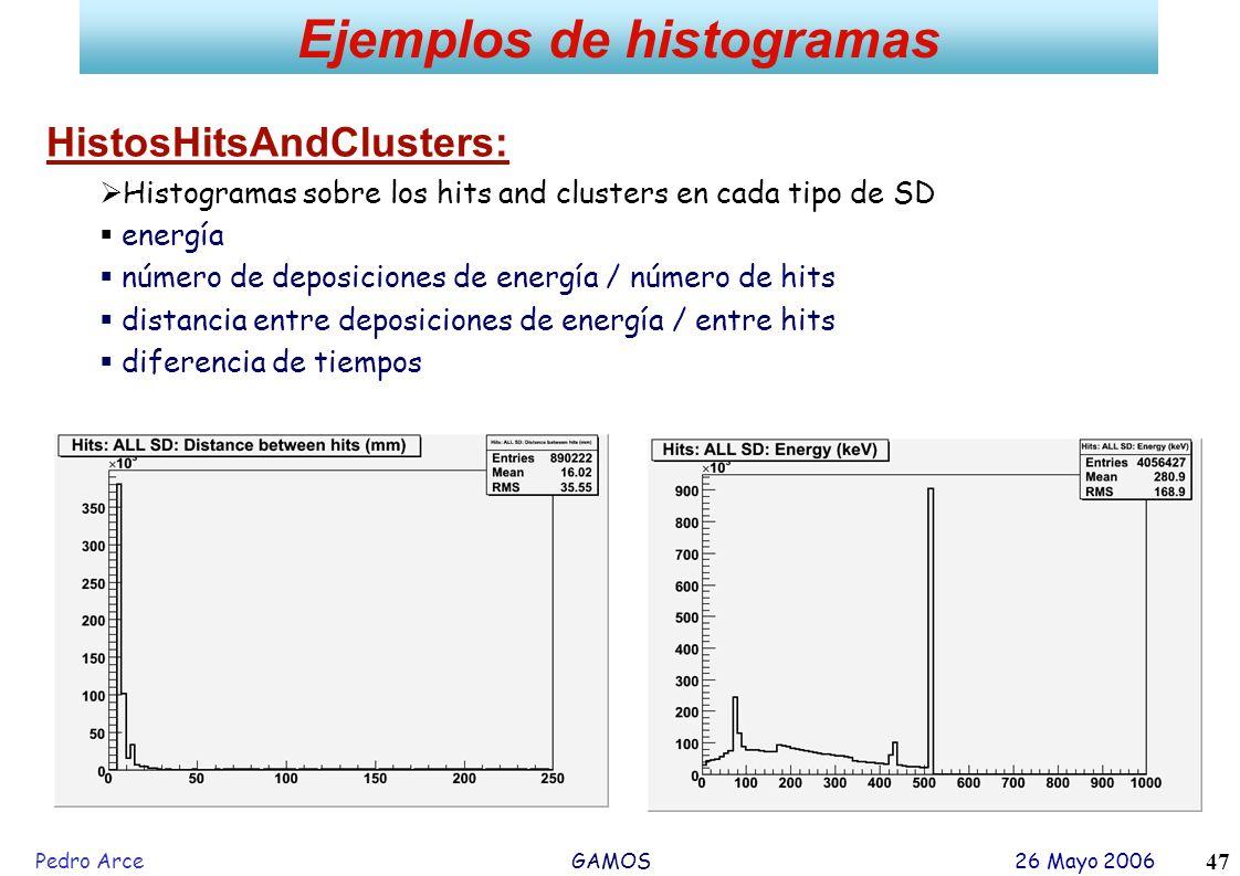 Pedro Arce GAMOS 26 Mayo 2006 47 Ejemplos de histogramas HistosHitsAndClusters: Histogramas sobre los hits and clusters en cada tipo de SD energía núm