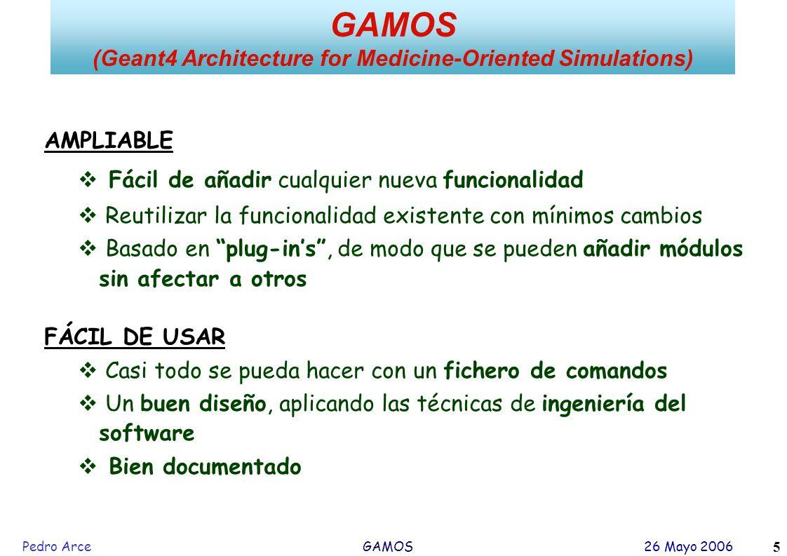 Pedro Arce GAMOS 26 Mayo 2006 5 AMPLIABLE Fácil de añadir cualquier nueva funcionalidad Reutilizar la funcionalidad existente con mínimos cambios Basa