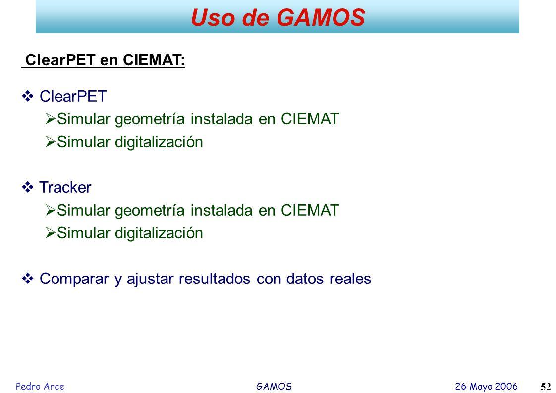 Pedro Arce GAMOS 26 Mayo 2006 52 Uso de GAMOS ClearPET en CIEMAT: ClearPET Simular geometría instalada en CIEMAT Simular digitalización Tracker Simula