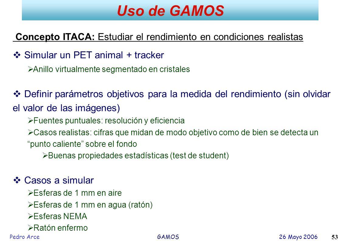 Pedro Arce GAMOS 26 Mayo 2006 53 Uso de GAMOS Concepto ITACA: Estudiar el rendimiento en condiciones realistas Simular un PET animal + tracker Anillo