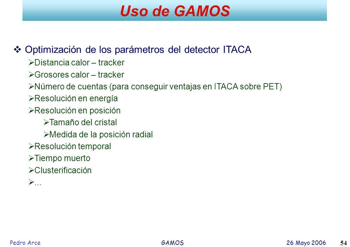 Pedro Arce GAMOS 26 Mayo 2006 54 Uso de GAMOS Optimización de los parámetros del detector ITACA Distancia calor – tracker Grosores calor – tracker Núm