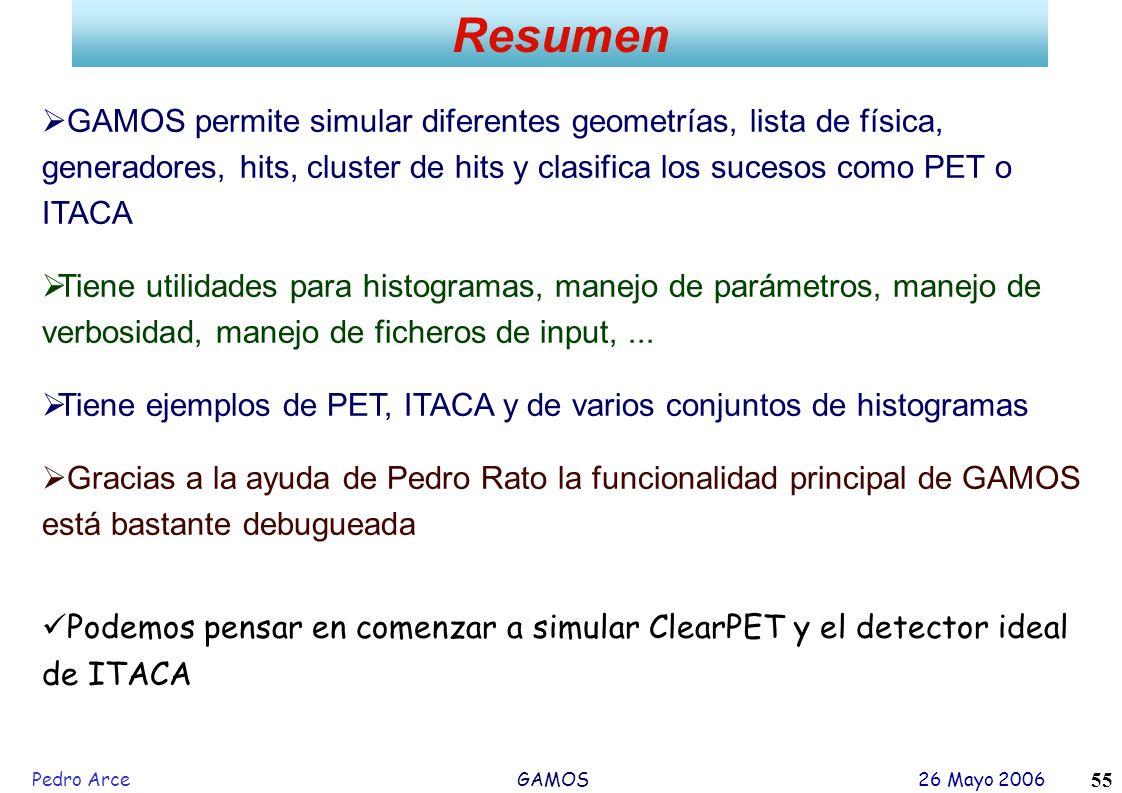 Pedro Arce GAMOS 26 Mayo 2006 55 Resumen GAMOS permite simular diferentes geometrías, lista de física, generadores, hits, cluster de hits y clasifica