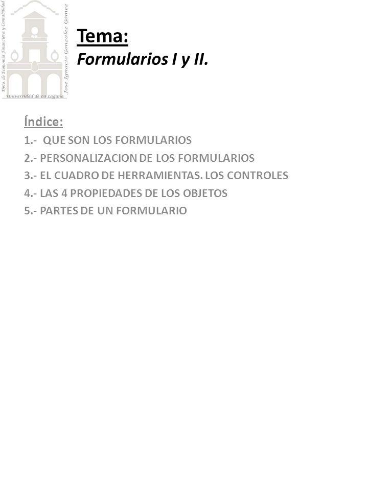 Tema: Formularios I y II.