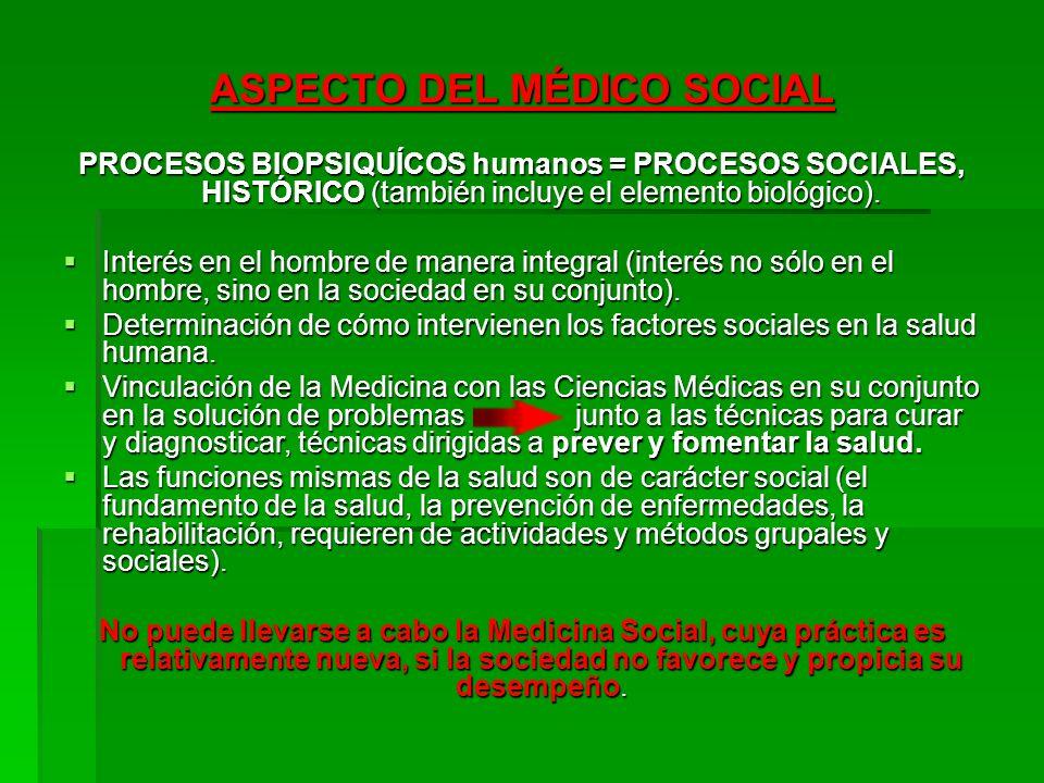 ASPECTO DEL MÉDICO SOCIAL PROCESOS BIOPSIQUÍCOS humanos = PROCESOS SOCIALES, HISTÓRICO (también incluye el elemento biológico). Interés en el hombre d