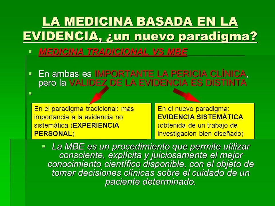 LA MEDICINA BASADA EN LA EVIDENCIA, ¿un nuevo paradigma? MEDICINA TRADICIONAL VS MBE MEDICINA TRADICIONAL VS MBE En ambas es IMPORTANTE LA PERICIA CLÍ