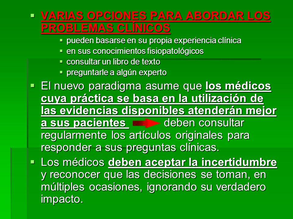 VARIAS OPCIONES PARA ABORDAR LOS PROBLEMAS CLÍNICOS VARIAS OPCIONES PARA ABORDAR LOS PROBLEMAS CLÍNICOS pueden basarse en su propia experiencia clínic
