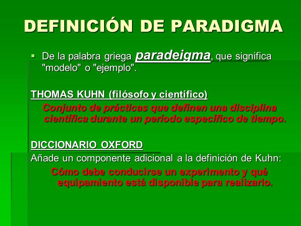 DEFINICIÓN DE PARADIGMA De la palabra griega paradeigma, que significa