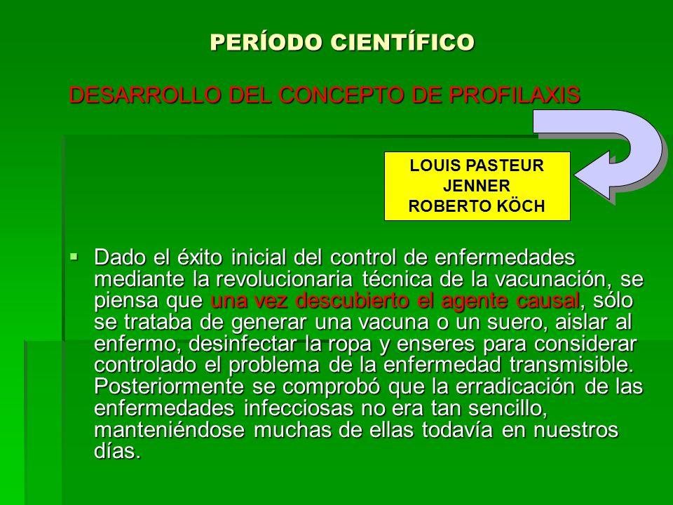 PERÍODO CIENTÍFICO DESARROLLO DEL CONCEPTO DE PROFILAXIS Dado el éxito inicial del control de enfermedades mediante la revolucionaria técnica de la va